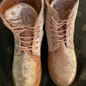 Light Pink Velvet Doc Marten Style Boots